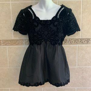 Vivienne Tam black floral silk and velvet top